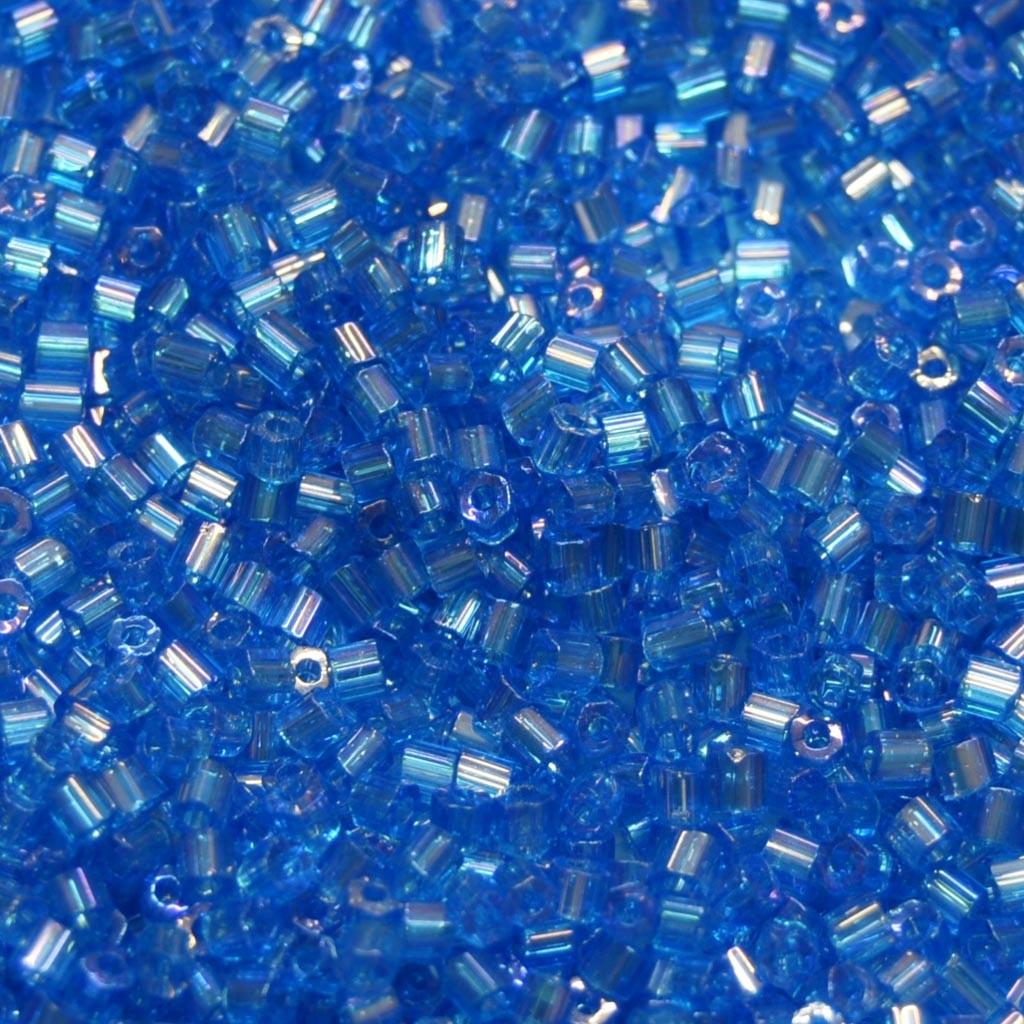 Vidrilho 2 x 9/0 Transparente Irizado Azul 711044