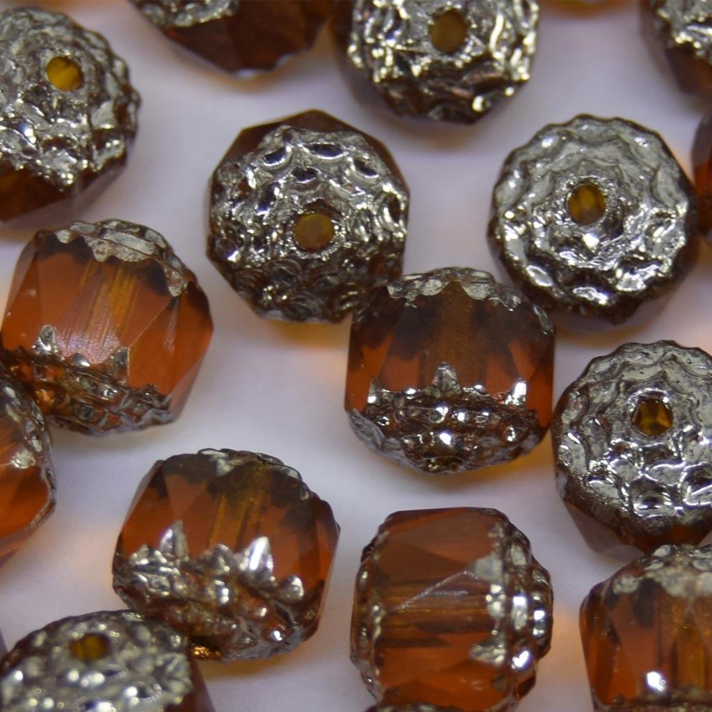 Cristal 8 mm Transparente Barril Ouro Escuro/ Prata 711050