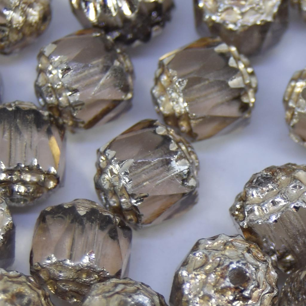 Cristal 8 mm Transparente Barril Cinza Fumê/ Prata 711051
