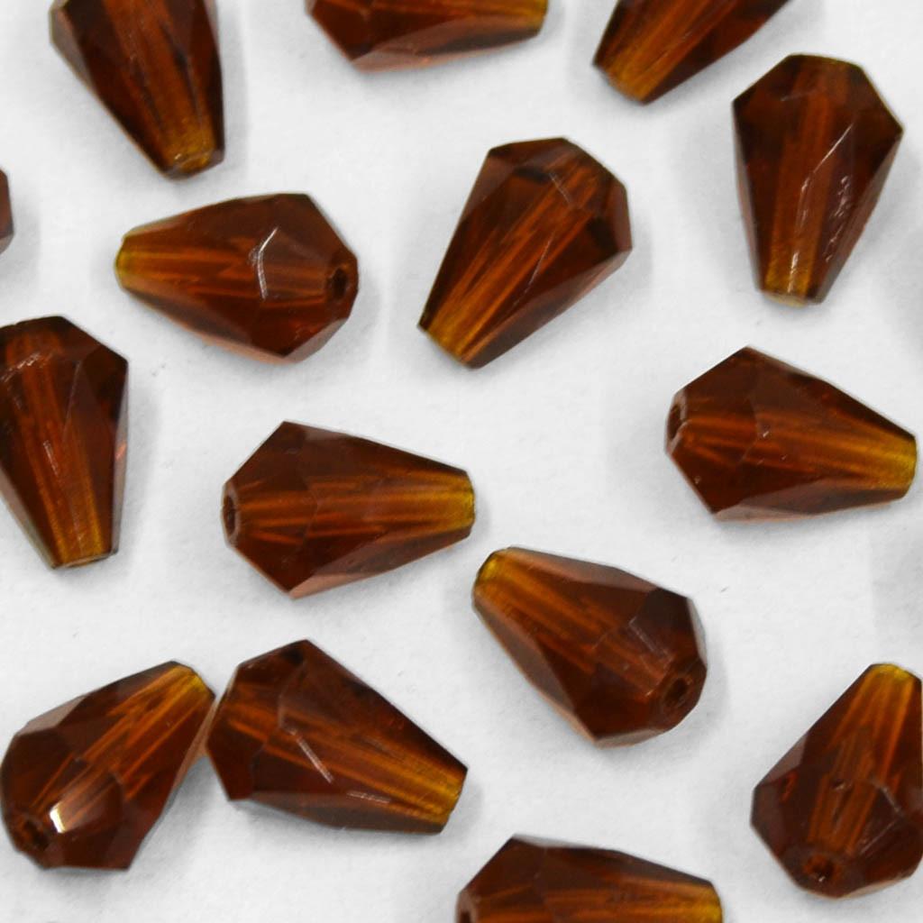 Cristal Gota Pendant MC Machine Cut  Drop Marrom 10 x 7 mm 711192