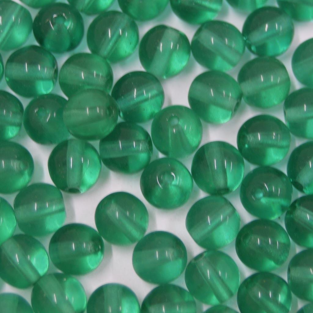 Conta de vidro Transparente Verde Escuro 6 mm 711286