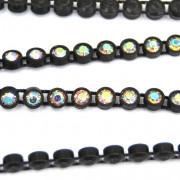 Fio de Plástico Preto com Strass Cristal Transparente Aurora Boreal  ss 16 = 4 mm 702853