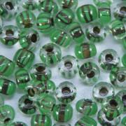 Missanga 6/0 Rajada Lined verde/ marrom 708843
