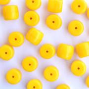 Enfeite Murano Opaco Tcheco Cilindro 9 / 10 mm Amarelo 709086