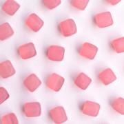 Enfeite Murano de Vidro Fosco Tcheco Cubo 7 x 8 mm Rosa 709986