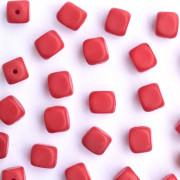 Enfeite Murano de Vidro Fosco Tcheco Cubo 7 x 8 mm Vermelho 710017