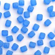 Enfeite Murano de Vidro Fosco Tcheco Cubo 7 x 8 mm Azul 710077