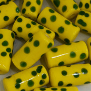Murano Italiano Pintado Amarelo/ Verde 26/12 mm 710209