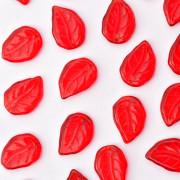 Enfeite de Vidro Tcheco Folha 3 x 14 mm Vermelho 710408
