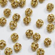 Bola Strass Dourada 6mm 710927