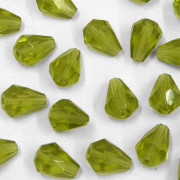 Cristal Gota Pendant MC Machine Cut  Drop Verde Oliva Olivine 9 x 7 mm 711195