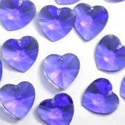 Pingente Coração 20 mm  Transparente Cristal Lapidado Azul 711271