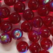 Conta de vidro Transparente Irizado Vermelho 12 mm 711503