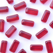 Enfeite Murano de Vidro Transparente Tcheco Retangular  15 x 7 mm Vermelho 711973