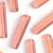Enfeite Murano de Vidro Transparente Tcheco Retangular  30 x 7 mm Rosa 711977