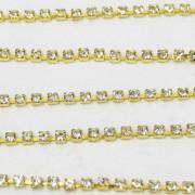 Fio de metal banhado em Dourado com strass cristal transparente ss 6,5 = 2 mm 712214