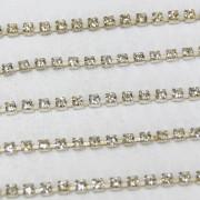Fio de metal banhado em níquel com strass cristal transparente ss 6,5 mm= 2.00 mm 712215
