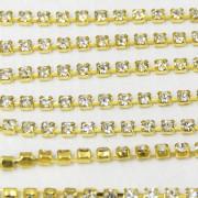 Fio de metal banhado em Dourado com strass cristal transparente ss 12 = 3 mm 712218