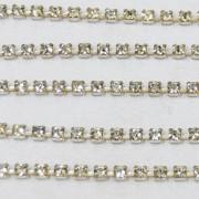 Fio de metal banhado em Níquel com strass cristal transparente ss 12 = 3 mm 712219