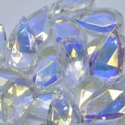 Pingente Amêndoa 25 x 15 mm Transparente Cristal Lapidado AB Aurora Boreal Furtacor 712226