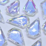 Pingente Balão 36 x 24 mm Transparente Cristal Lapidado AB Aurora Boreal Furtacor 712229