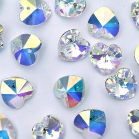 Pingente Coração 14,4/14 mm Transparente Cristal Lapidado  AB Aurora Boreal Furtacor 711340