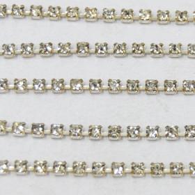 Fio de metal banhado em Níquel com strass cristal transparente ss 8,5 = 2,40 mm 712217