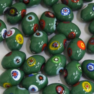 Murano Italiano Decorado Millefiori Verde 16/11 mm 709156