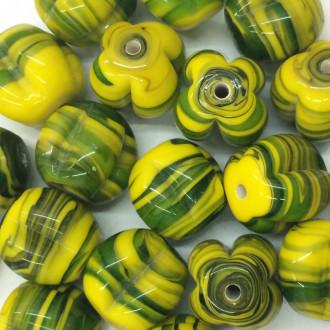 Murano Italiano Decorado Pitanga Rajado amarelo/verde 18/19 mm 710203