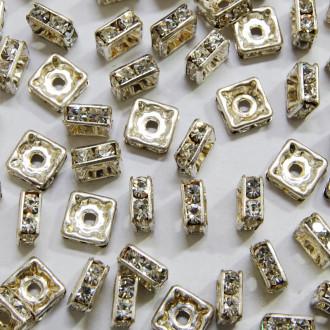 Rondela Strass Squared Prateada 8 x 8 mm 711965